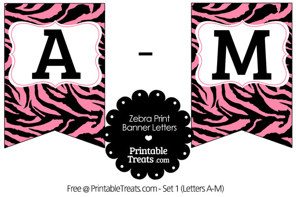 pink zebra print bunting banner letters a-m