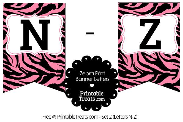 pink zebra print bunting banner letters n-z