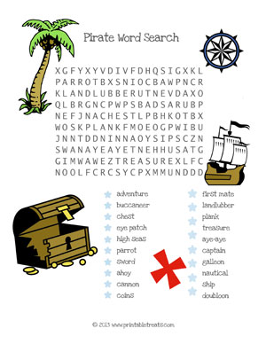 pirate word search for children