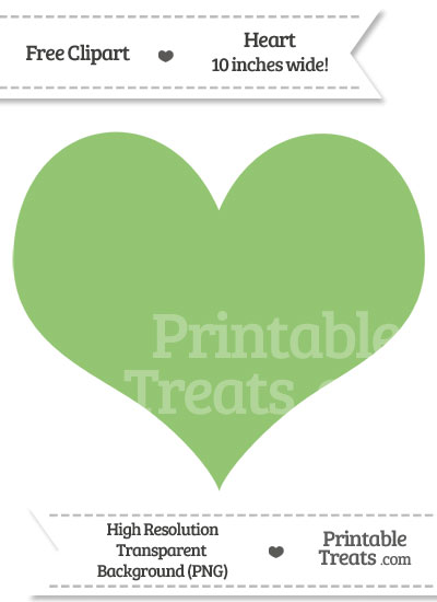 Pistachio Green Heart Clipart from PrintableTreats.com