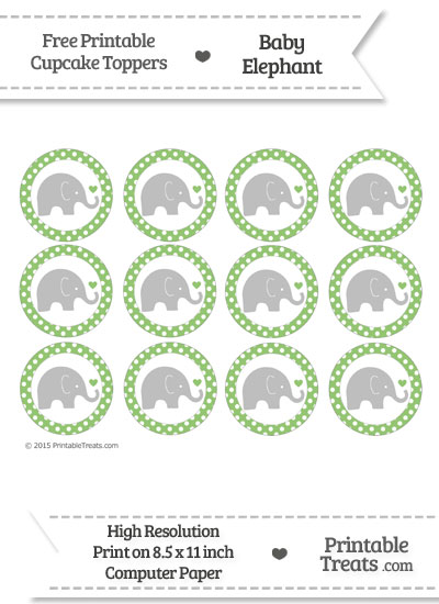 Pistachio Green Polka Dot Baby Elephant Cupcake Toppers from PrintableTreats.com