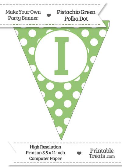 Pistachio Green Polka Dot Pennant Flag Capital Letter I from PrintableTreats.com