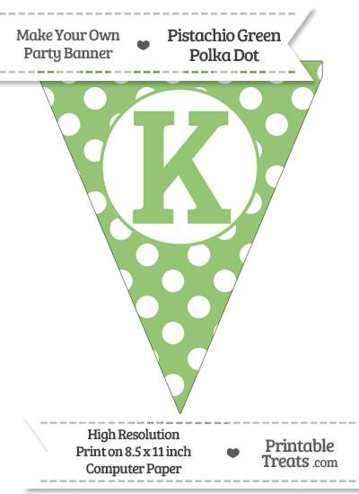 Pistachio Green Polka Dot Pennant Flag Capital Letter K from PrintableTreats.com