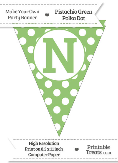 Pistachio Green Polka Dot Pennant Flag Capital Letter N from PrintableTreats.com