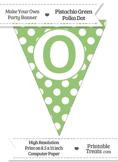Pistachio Green Polka Dot Pennant Flag Capital Letter O from PrintableTreats.com