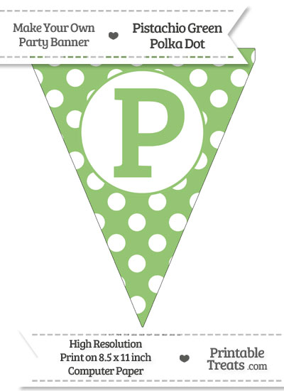 Pistachio Green Polka Dot Pennant Flag Capital Letter P from PrintableTreats.com