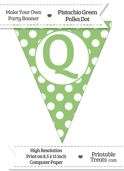 Pistachio Green Polka Dot Pennant Flag Capital Letter Q from PrintableTreats.com