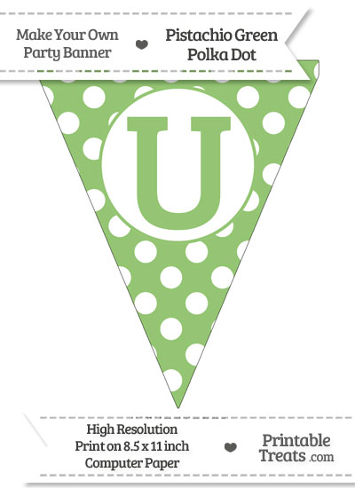 Pistachio Green Polka Dot Pennant Flag Capital Letter U from PrintableTreats.com