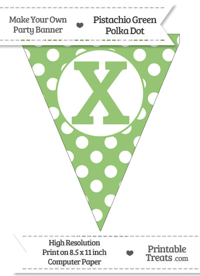 Pistachio Green Polka Dot Pennant Flag Capital Letter X from PrintableTreats.com