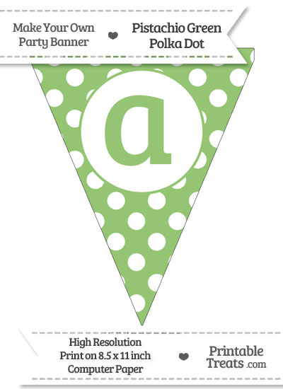 Pistachio Green Polka Dot Pennant Flag Lowercase Letter A from PrintableTreats.com