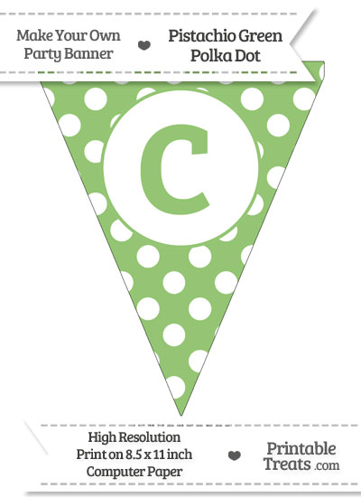 Pistachio Green Polka Dot Pennant Flag Lowercase Letter C from PrintableTreats.com