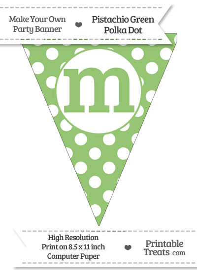 Pistachio Green Polka Dot Pennant Flag Lowercase Letter M from PrintableTreats.com