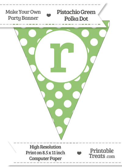 Pistachio Green Polka Dot Pennant Flag Lowercase Letter R from PrintableTreats.com