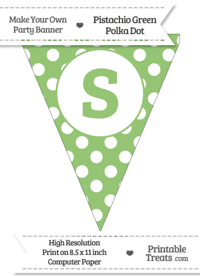 Pistachio Green Polka Dot Pennant Flag Lowercase Letter S from PrintableTreats.com