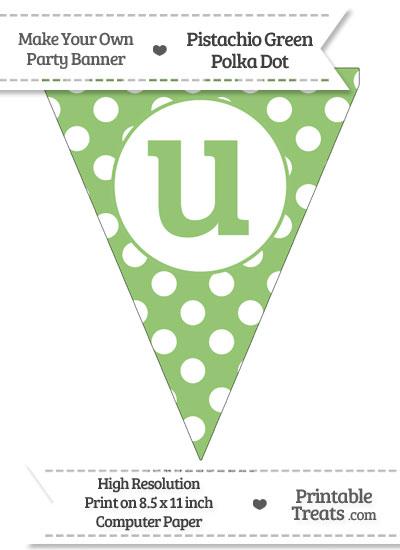 Pistachio Green Polka Dot Pennant Flag Lowercase Letter U from PrintableTreats.com