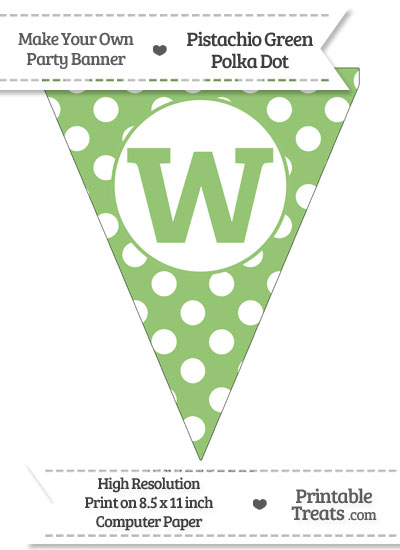 Pistachio Green Polka Dot Pennant Flag Lowercase Letter W from PrintableTreats.com