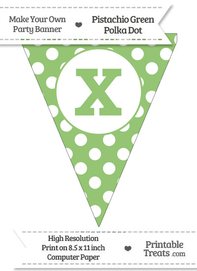 Pistachio Green Polka Dot Pennant Flag Lowercase Letter X from PrintableTreats.com