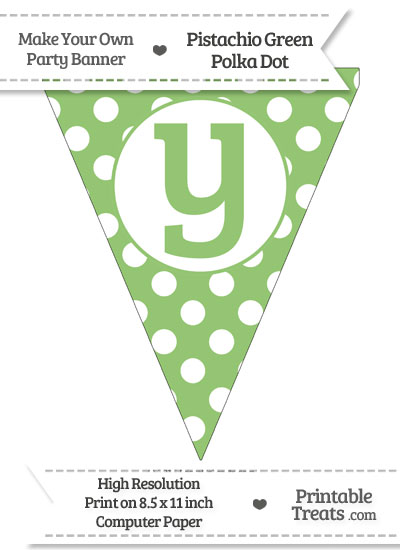 Pistachio Green Polka Dot Pennant Flag Lowercase Letter Y from PrintableTreats.com