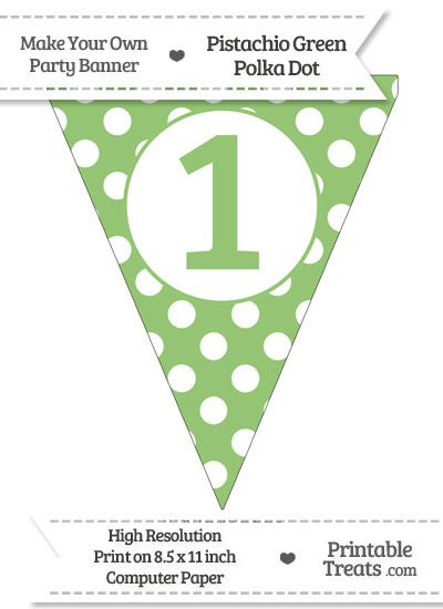 Pistachio Green Polka Dot Pennant Flag Number 1 from PrintableTreats.com