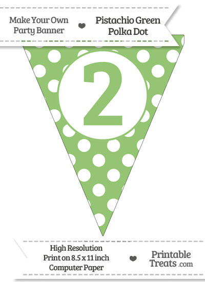 Pistachio Green Polka Dot Pennant Flag Number 2 from PrintableTreats.com