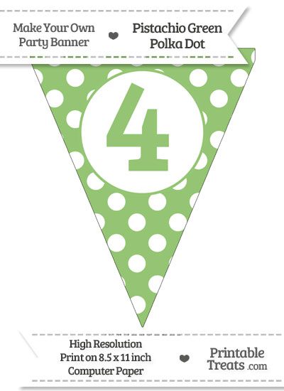Pistachio Green Polka Dot Pennant Flag Number 4 from PrintableTreats.com