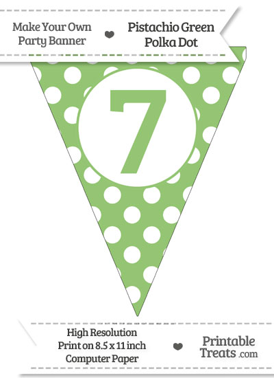 Pistachio Green Polka Dot Pennant Flag Number 7 from PrintableTreats.com