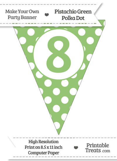 Pistachio Green Polka Dot Pennant Flag Number 8 from PrintableTreats.com