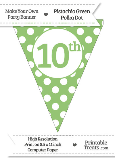 Pistachio Green Polka Dot Pennant Flag Ordinal Number 10th from PrintableTreats.com