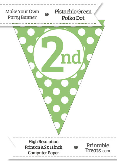 Pistachio Green Polka Dot Pennant Flag Ordinal Number 2nd from PrintableTreats.com