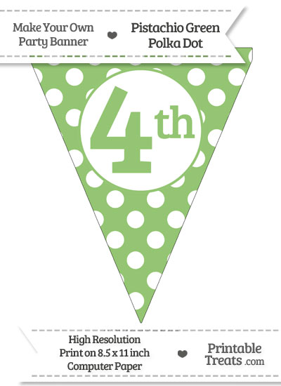 Pistachio Green Polka Dot Pennant Flag Ordinal Number 4th from PrintableTreats.com