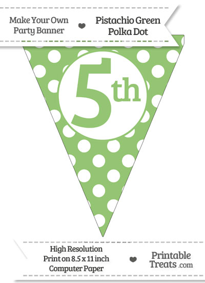 Pistachio Green Polka Dot Pennant Flag Ordinal Number 5th from PrintableTreats.com