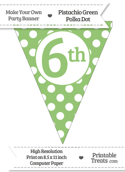 Pistachio Green Polka Dot Pennant Flag Ordinal Number 6th from PrintableTreats.com
