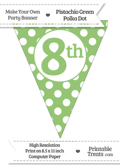 Pistachio Green Polka Dot Pennant Flag Ordinal Number 8th from PrintableTreats.com