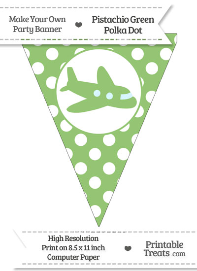 Pistachio Green Polka Dot Pennant Flag with Airplane Facing Right from PrintableTreats.com