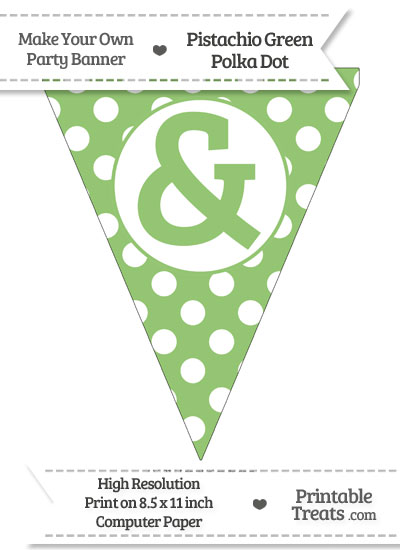 Pistachio Green Polka Dot Pennant Flag with Ampersand from PrintableTreats.com