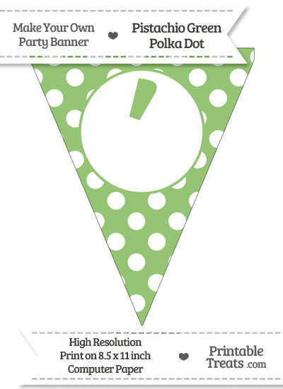 Pistachio Green Polka Dot Pennant Flag with Apostrophe from PrintableTreats.com