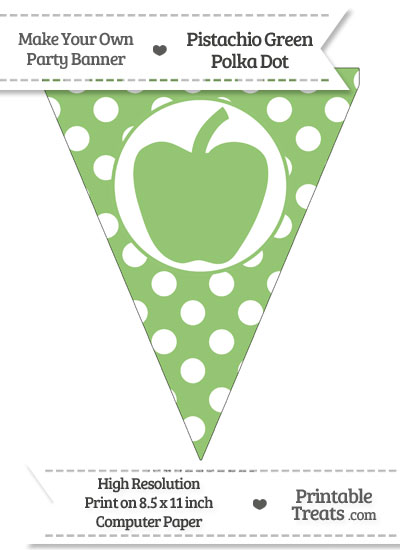 Pistachio Green Polka Dot Pennant Flag with Apple from PrintableTreats.com