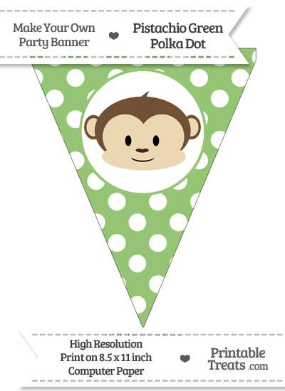 Pistachio Green Polka Dot Pennant Flag with Boy Monkey from PrintableTreats.com