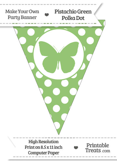 Pistachio Green Polka Dot Pennant Flag with Butterfly from PrintableTreats.com