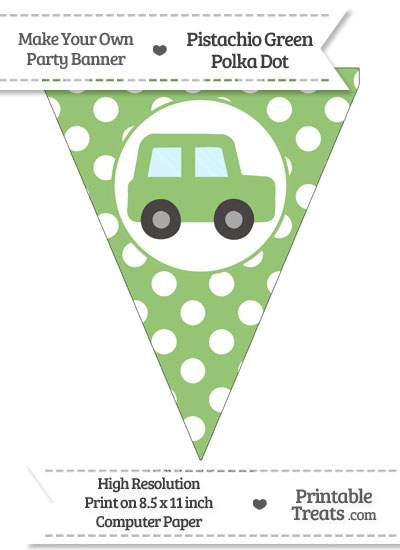 Pistachio Green Polka Dot Pennant Flag with Car Facing Right from PrintableTreats.com
