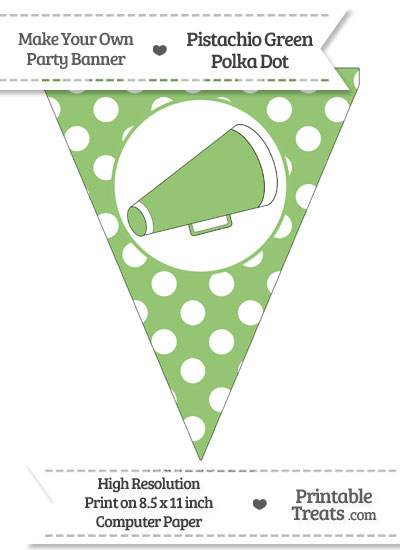 Pistachio Green Polka Dot Pennant Flag with Cheer Megaphone Facing Right from PrintableTreats.com