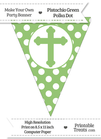 Pistachio Green Polka Dot Pennant Flag with Cross from PrintableTreats.com