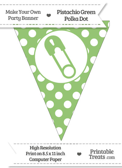 Pistachio Green Polka Dot Pennant Flag with Diaper Pin Facing Left from PrintableTreats.com