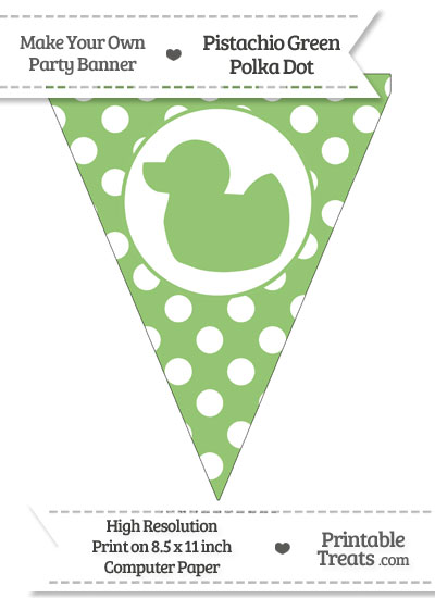 Pistachio Green Polka Dot Pennant Flag with Duck Facing Left from PrintableTreats.com