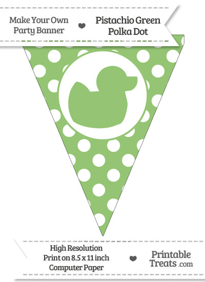 Pistachio Green Polka Dot Pennant Flag with Duck Facing Right from PrintableTreats.com