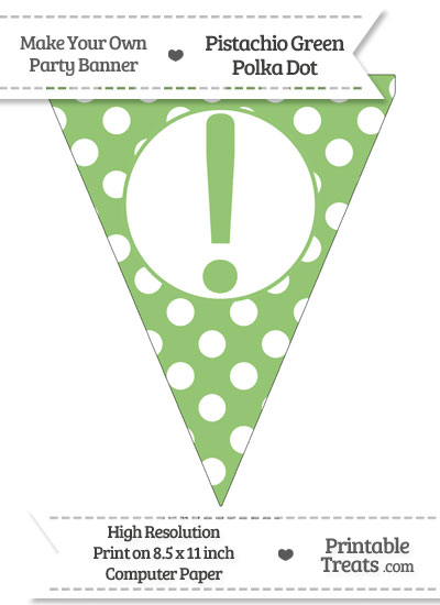 Pistachio Green Polka Dot Pennant Flag with Exclamation Mark from PrintableTreats.com