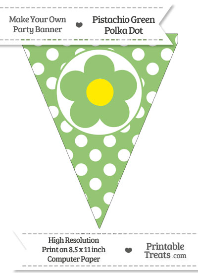 Pistachio Green Polka Dot Pennant Flag with Flower from PrintableTreats.com