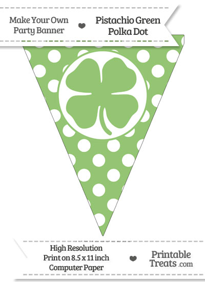 Pistachio Green Polka Dot Pennant Flag with Four Leaf Clover Facing Left from PrintableTreats.com