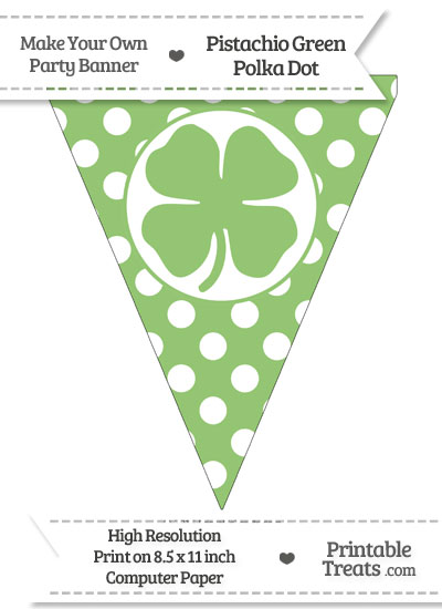 Pistachio Green Polka Dot Pennant Flag with Four Leaf Clover Facing Right from PrintableTreats.com