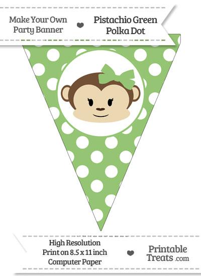 Pistachio Green Polka Dot Pennant Flag with Girl Monkey from PrintableTreats.com